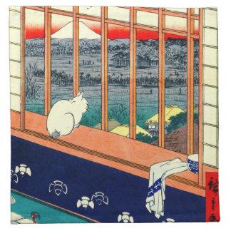 Gato y el monte Fuji 1857 Servilleta Imprimida