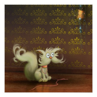 gato y el poster del ratón