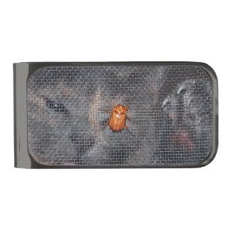 Gato y escarabajo del navidad clip para billetes plomizo