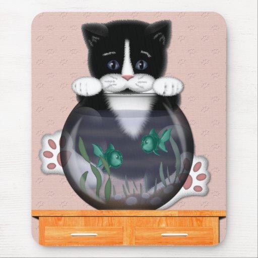 Gato y Fishbowl Mousepad