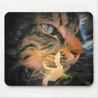 Gato y flor tapete de ratón