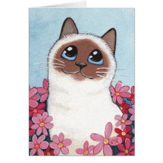 Gato y flores acentuados - tarjeta en blanco de