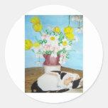 Gato y flores etiquetas redondas
