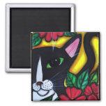 Gato y flores imán cuadrado