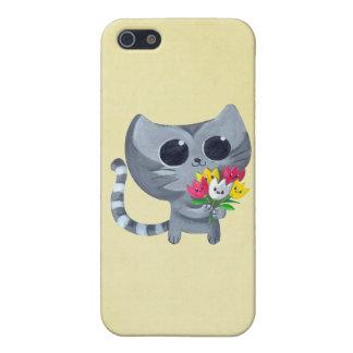 Gato y flores lindos del gatito iPhone 5 coberturas