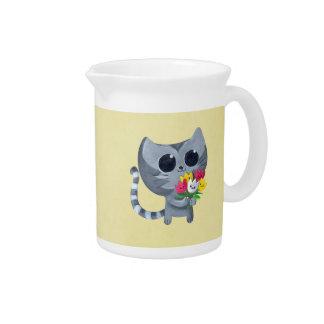 Gato y flores lindos del gatito jarrones