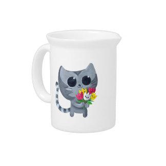 Gato y flores lindos del gatito jarras para bebida