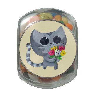 Gato y flores lindos del gatito jarras de cristal