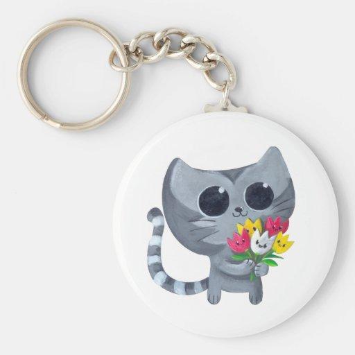 Gato y flores lindos del gatito llaveros