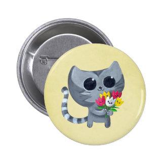 Gato y flores lindos del gatito pin