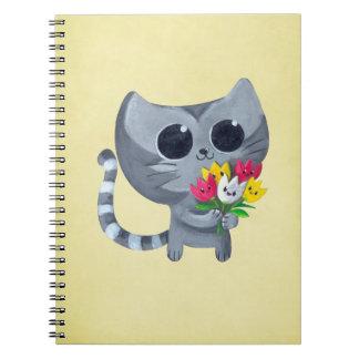 Gato y flores lindos del gatito spiral notebook