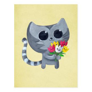 Gato y flores lindos del gatito tarjeta postal