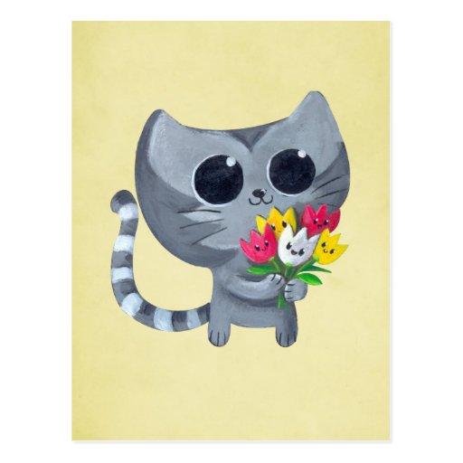 Gato y flores lindos del gatito postal