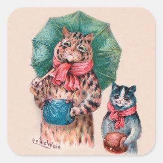 Gato y gatito de Louis Wain con los paraguas Pegatina Cuadrada