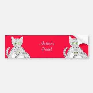 Gato y gatito de plata de la madre del Tabby Etiqueta De Parachoque