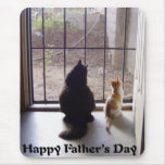 Gato y gatito felices del día de padres alfombrilla de ratones