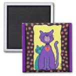 Gato y gatito púrpuras - imán
