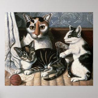 Gato y gatitos, c.1872-1883 póster