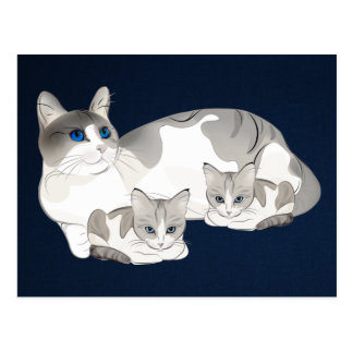 gato y gatitos postales