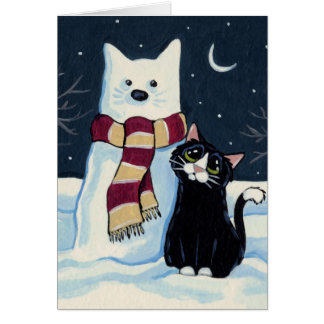 Gato y gato de la nieve en la tarjeta de Navidad
