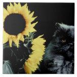 Gato y girasol azulejo cuadrado grande