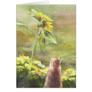 Gato y girasol tarjeta de felicitación
