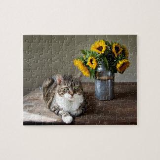 Gato y girasoles puzzle