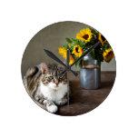 Gato y girasoles relojes