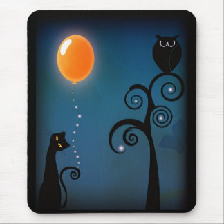 Gato y globo mouse pads