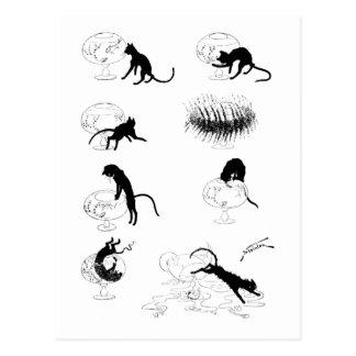 Gato y Goldfish, Alejandro Steinlen Postal