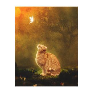 Gato y hada lienzo envuelto para galerias
