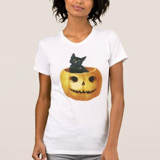 Gato y Jack-o-Linterna de Halloween Camisetas