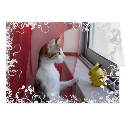 Gato y juguete - tarjeta
