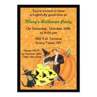 Gato y la invitación del fiesta de Halloween del