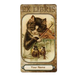 Gato y la placa de libro del violín etiqueta de envío