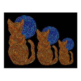 Gato y la postal anaranjada del arte de la luna