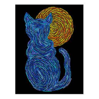 Gato y la postal azul del arte de la luna