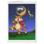Gato y la tarjeta del tema de los niños del violín