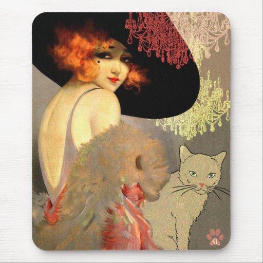 Gato y lámpara Mousepad del Veronica Alfombrilla De Ratón
