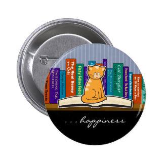 Gato y libros botón o Pin