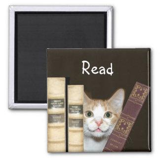 Gato y libros imán cuadrado
