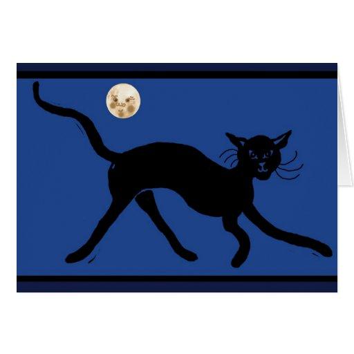 gato y luna tarjeta de felicitación