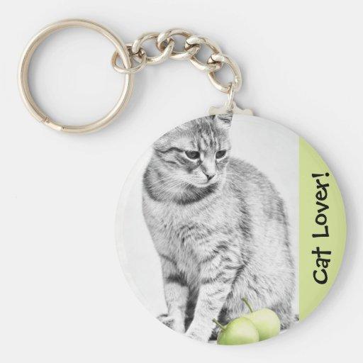 Gato y manzanas llavero personalizado