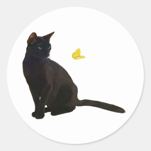 Gato y mariposa de Bombay Pegatina Redonda