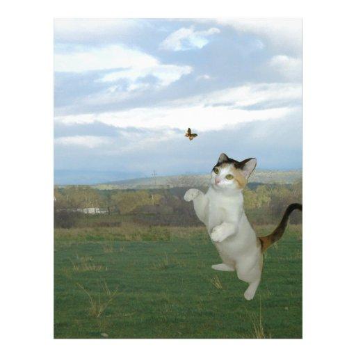 Gato y mariposa membrete personalizado