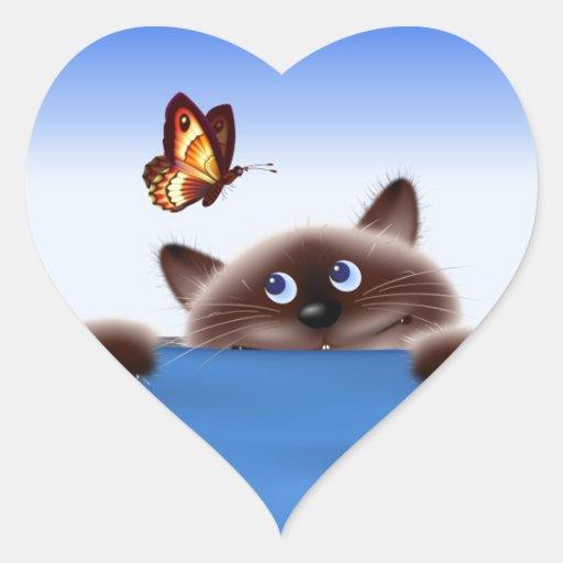 Gato y mariposa calcomanías corazones