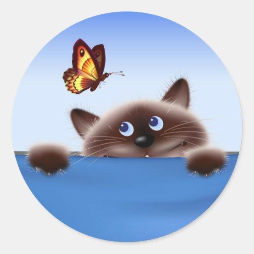 Gato y mariposa pegatina redonda