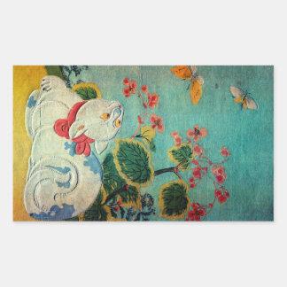 Gato y mariposa, Suzuki Harunobu Pegatina Rectangular