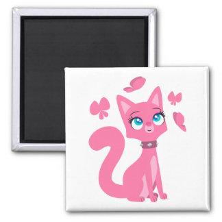 Gato y mariposas rosados lindos del dibujo animado imán cuadrado