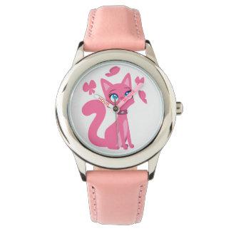 Gato y mariposas rosados lindos del dibujo animado reloj de mano